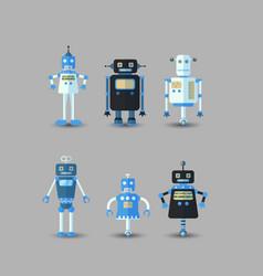 retro vintage funny robot set icon in flat vector image