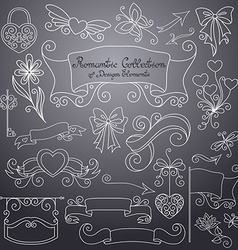 Romantic Collection of Hand Drawn Design Elements vector image