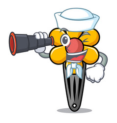 Sailor with binocular hair clip mascot cartoon vector