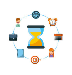 sand clock diary calendar atrget people business vector image