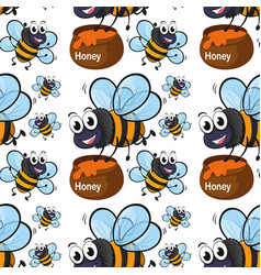 Seamless pattern tile cartoon with flying bee vector
