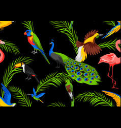 Seamless pattern with tropical exotic birds vector