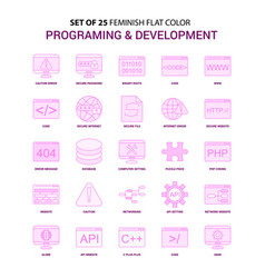 Set of 25 feminish programming and developement vector