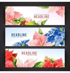 Set of banner templates with beauty flowers vector image
