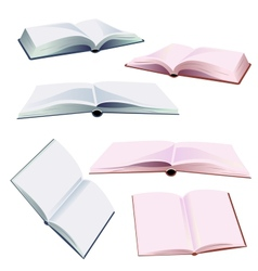 set of open books vector image
