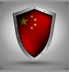 Shield with the image of the chinese flag vector