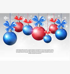 shiny christmas balls with ribbon bow on copy vector image