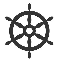 ship steering wheel flat icon vector image