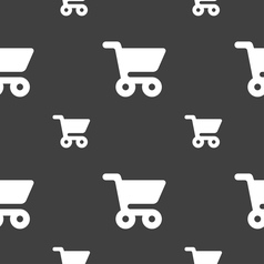 shopping basket icon sign Seamless pattern on a vector image