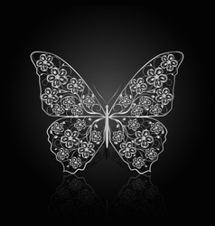 silver butterfly with floral pattern vector image