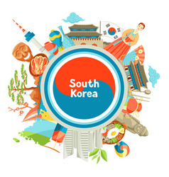 South korea background design korean traditional vector