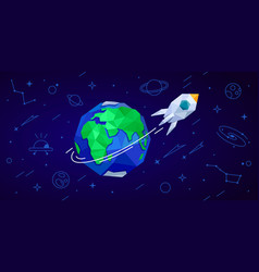 Space rocket and earth vector