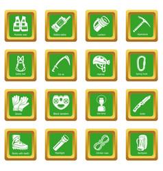 Speleology equipment icons set green square vector