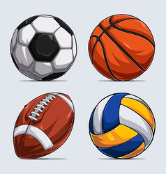sport balls collection basketball ball soccer vector image