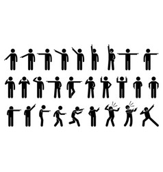 stick figures a person pointing finger a set vector image