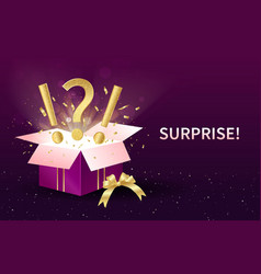 Surprise or gift concept with open festive box vector