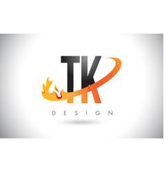 tk t k letter logo with fire flames design and vector image