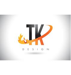Tk t k letter logo with fire flames design vector