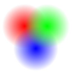 Transparent rgb circles blended - rgb color space vector