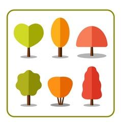 Tree icons set autumn 1 vector