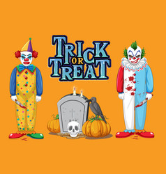 trick or treat text logo with creepy clowns vector image