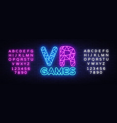 vr gamer neon text design template gaming vector image
