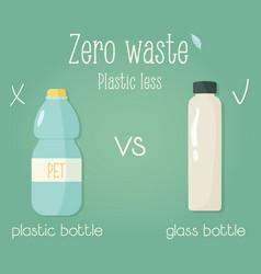 Zero waste concept poster plastic vs glass bottle vector