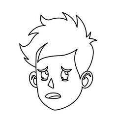 character face head boy crying outline vector image vector image