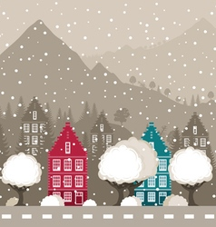 City in mountains vector image