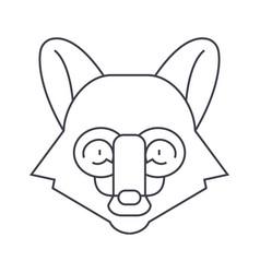 fox head line icon sign on vector image