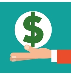 hand holding money dollar symbol vector image