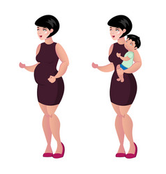 pregnant woman and baby vector image vector image