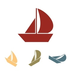 Sail Boat icon set Isometric effect vector image