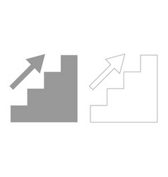 Stairs growth grey set icon vector