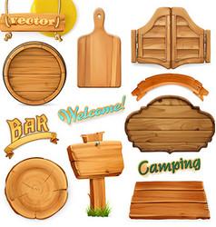 Wooden sign set Template for logo emblem 3d vector image vector image