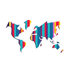 world map colorful paper cut abstract vector image vector image