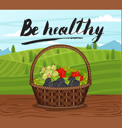 Be healthy banner with basket full of berry vector