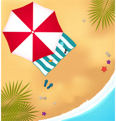 Beach with waves umbrell and bright towel vector