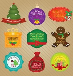 Christmas and Happy New Year Tags vector image vector image
