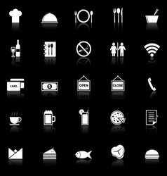 Restaurant icons with reflect on black background vector image vector image