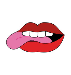 sexy lips cartoon vector image vector image