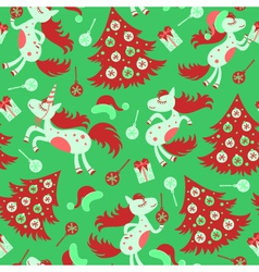 Christmas seamless pattern horse vector image vector image