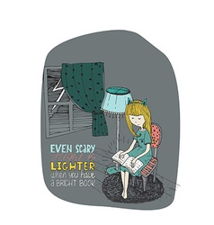 Girl reading book in stormy night hand drawn made vector