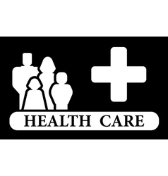health care icon with family and medical cross vector image vector image