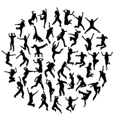 Hip hop and happy jumping expressions vector