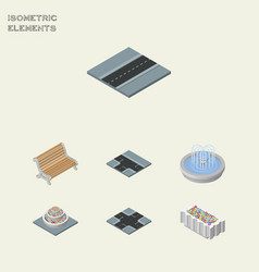 isometric architecture set of plants seat path vector image