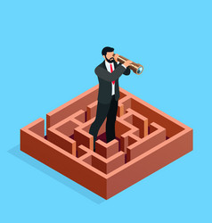 Isometric businessman looks in a spyglass vector