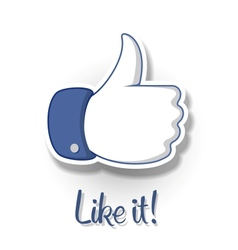 LikeThumbs Up symbol icon on white background vector image vector image