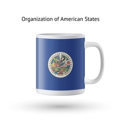 Organization of American States flag souvenir mug vector image vector image
