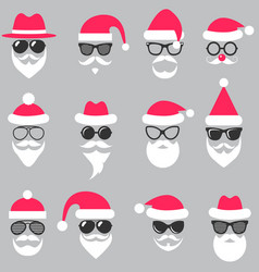 set of santa hats glasses and beards vector image